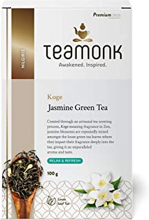 Teamonk Koge Jasmine Green Tea Loose Leaf (50 Cups) | Jasmine Tea Leaves for Relaxation | Refreshing Tea Loose Leaf Tea | ...