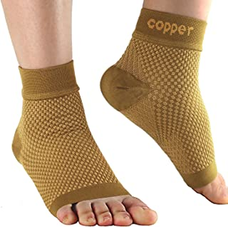 Compression Foot Sleeves for Plantar Fasciitis - Best Arch Support Copper Socks for Heel Pain, Swelling,Pain Relief and Running 20-30 mmHg for Men and Women(1Pair)(XL)