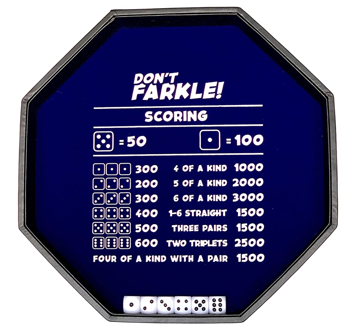 Don't Farkle! The Classic Risk & Reward Game - Includes Large Dice Rolling Tray & 6 Dice