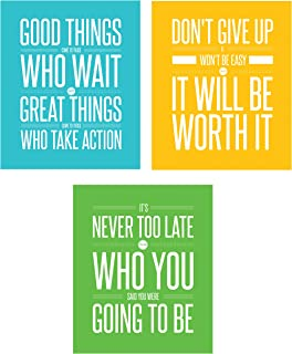 The Proverbs Store Don't Give Up 3 Poster Set Motivational Inspirational Quote Wall Workout Sports Art Boy Girl Teen Fitness Wall Home Decor Office Classroom Dorm Room Gym Entrepreneur (8 x 10 Mixed)