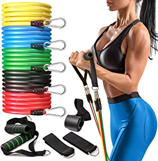 Perfotek Resistance Bands Set with Handles for Exercise - 11 pcs Set for Fitness - Include Elastic Workout Bands, Door Anc...