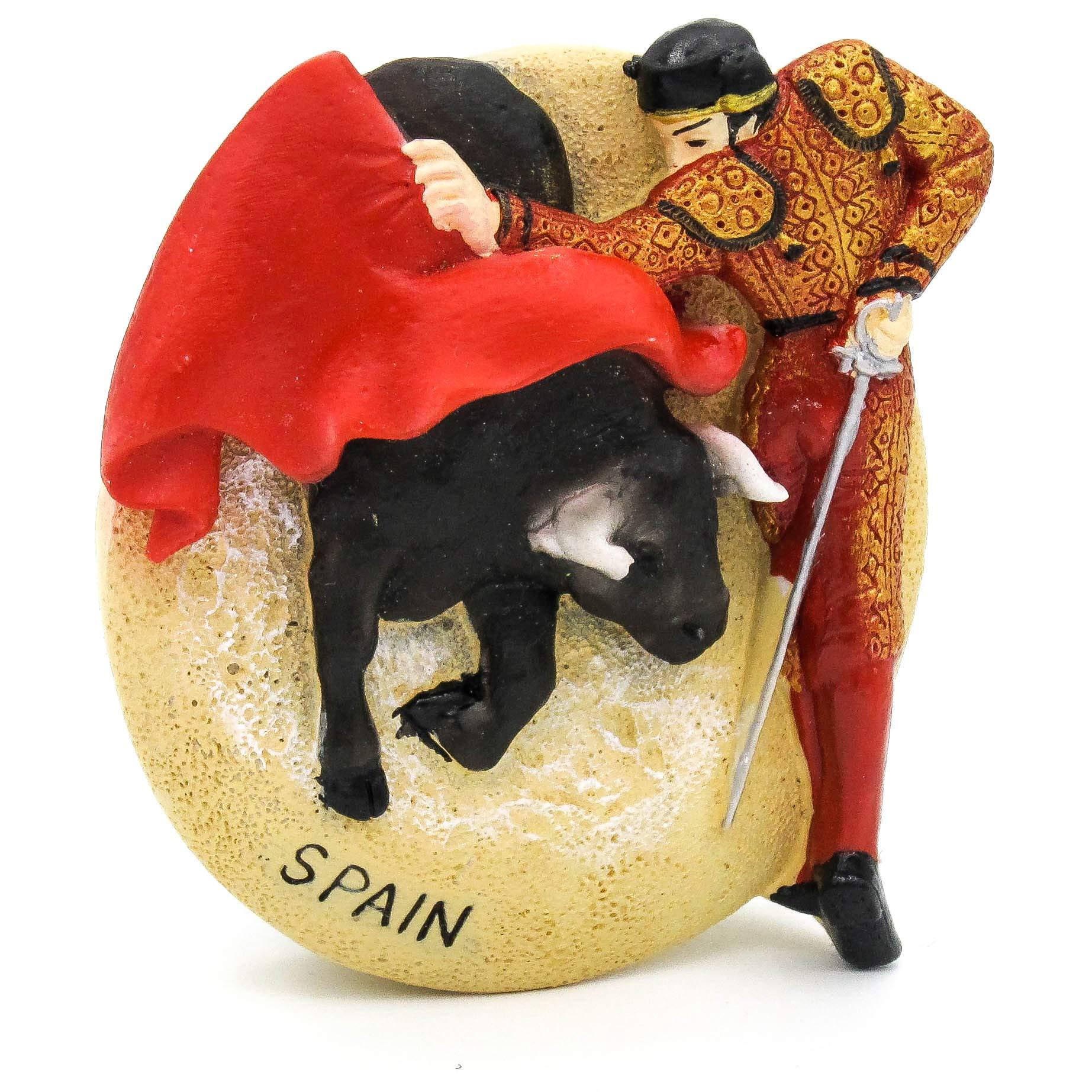 Corrida de toros España Pintado a mano Imán de resina 3D Nevera Parque de la Sagrada Familia Güell Alhambra Casa Batlló La Rambla, Barcelona Palacio Real de Madrid Museo del Prado Plaza