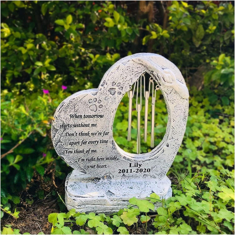 Color : Gray Z-Y Lapide per Cani Puppy Tombstone Pet Memorial Stone Garden Monumento Pet con Photo Frame Heart-Shaped Wind Chime for per Perdita di Regalo for Animali