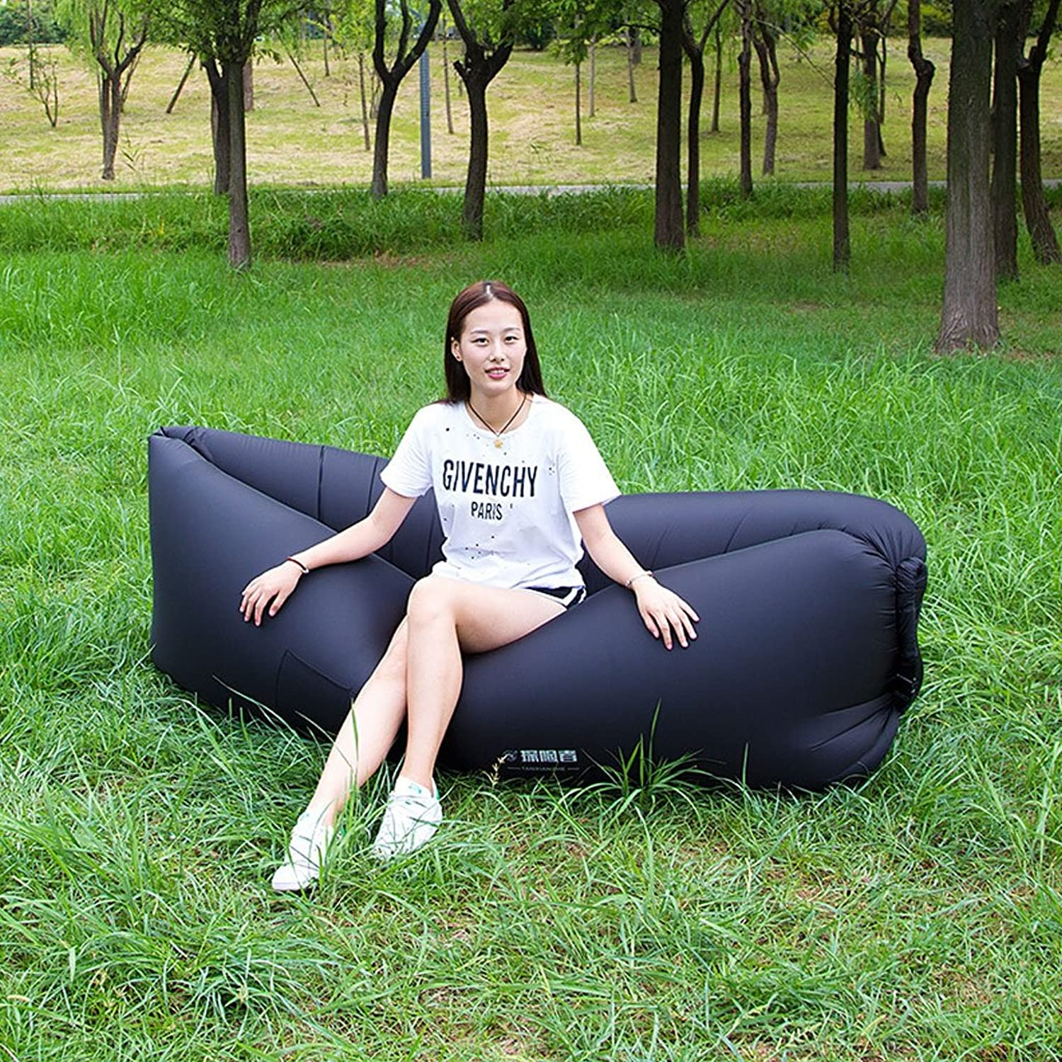 YD Cama de aire Outdoor Lazy Pocket Portable Air Fast Inflatable Sofa Bed Inflatable Cushion Lunch Break Beach Sleeping Bag (color   B)