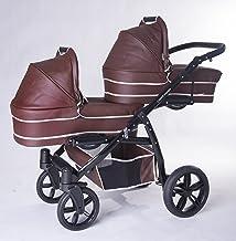 Carro gemelar 3en1. Completo: capazos, sillas, sillas de coche, accesorios. BBtwin. polipiel marrón