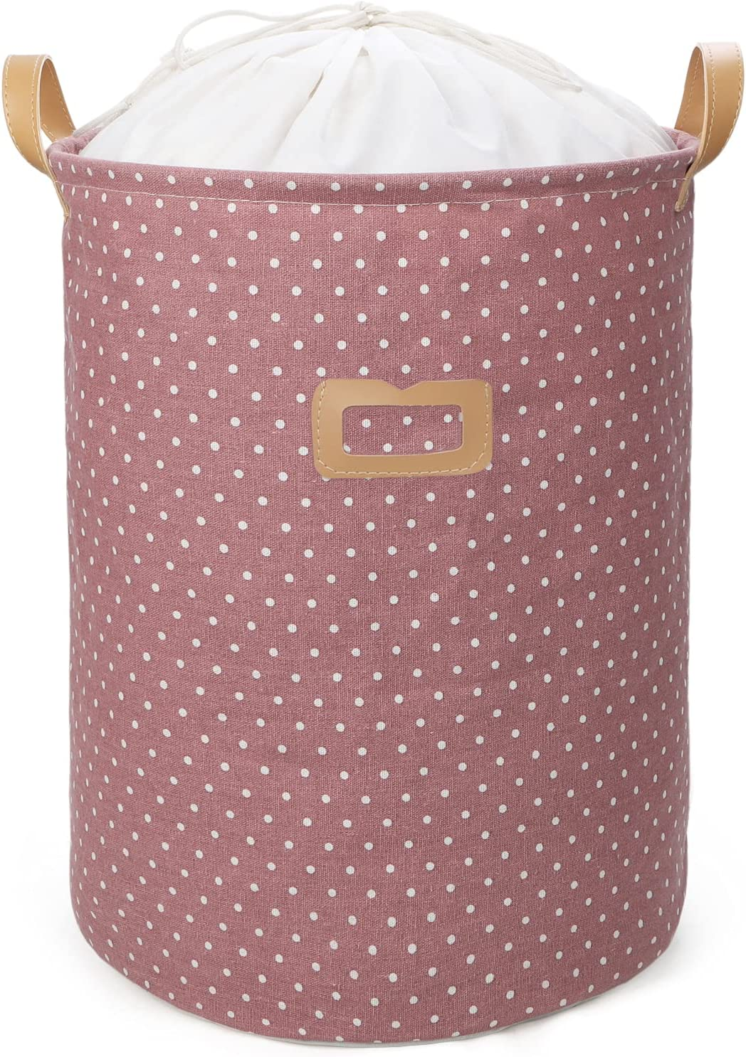 Yodo Collapsible Laundry Baskets-Large Foldable Laundry Hampers Freestanding Clothes Toy Storage Organizer with Waterproof Lining and Drawstring Closure,Dots