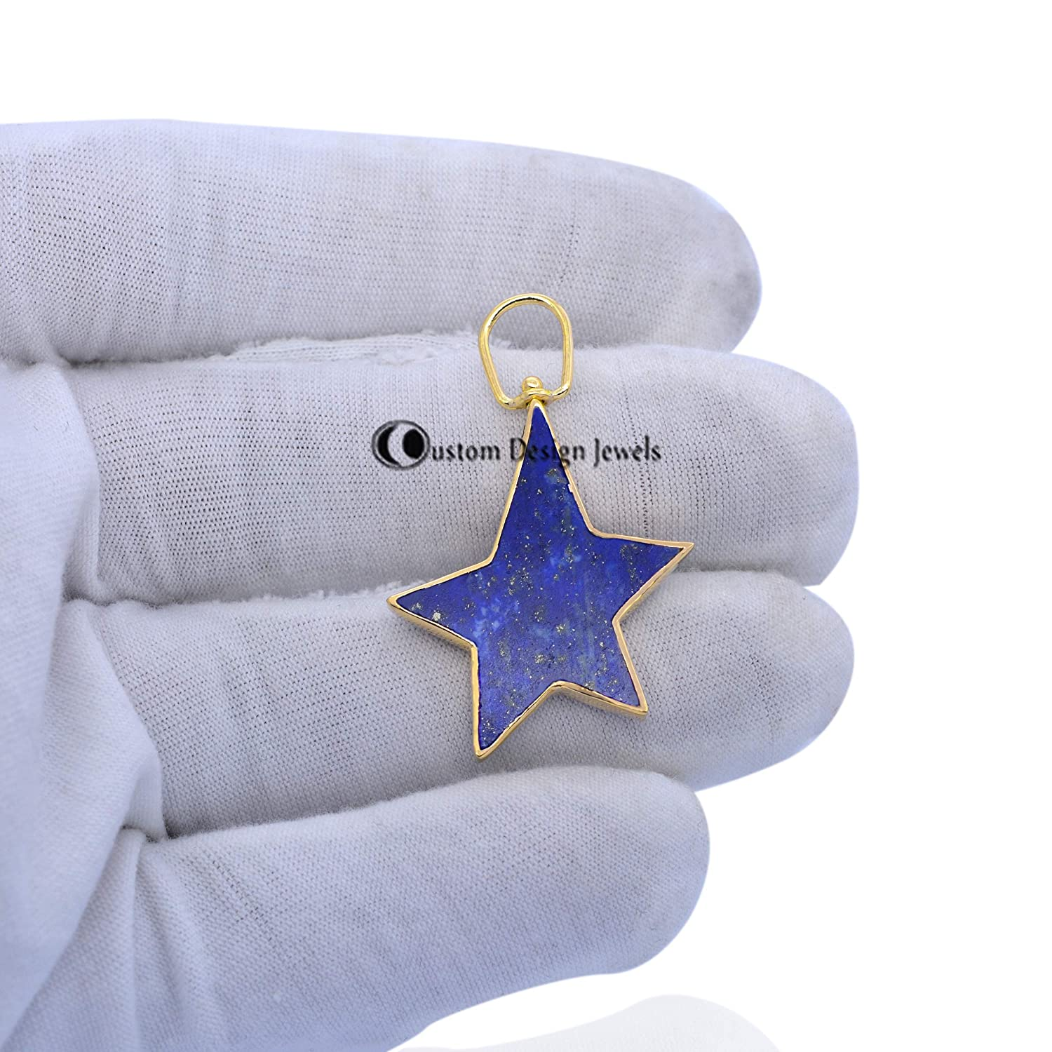 Lapis Gemstone Star Pendant 14K Our shop most popular Solid Ranking TOP11 Jewelry Gold Handmade