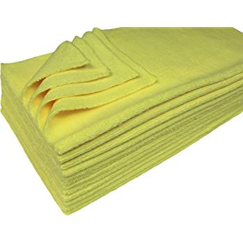 Detailer's Preference Eurow Ultrasonic Cut Maximum Absorption Premium Cleaning Towels 350gsm Yellow 16 x 16 Inches 12 Pack