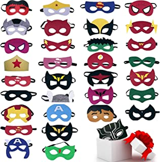 33pcs Superhero Masks Party Favors for Kids Cosplay Felt and Elastic - Superheroes Birthday Party Masks with 33 Different Types Perfect for Children