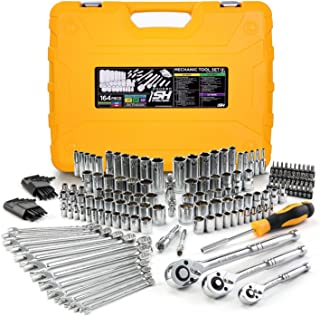 """STEELHEAD 164-Piece Mechanics Tool & Socket Set (ANSI), SAE & MM, 1/4"""",3/8"""",1/2"""" 72-Tooth Ratchet, 6 & 12 Point Sockets, Combination & Hex Wrenches, 30 Screwdriver Bits, Universal Joint, Extensions"""