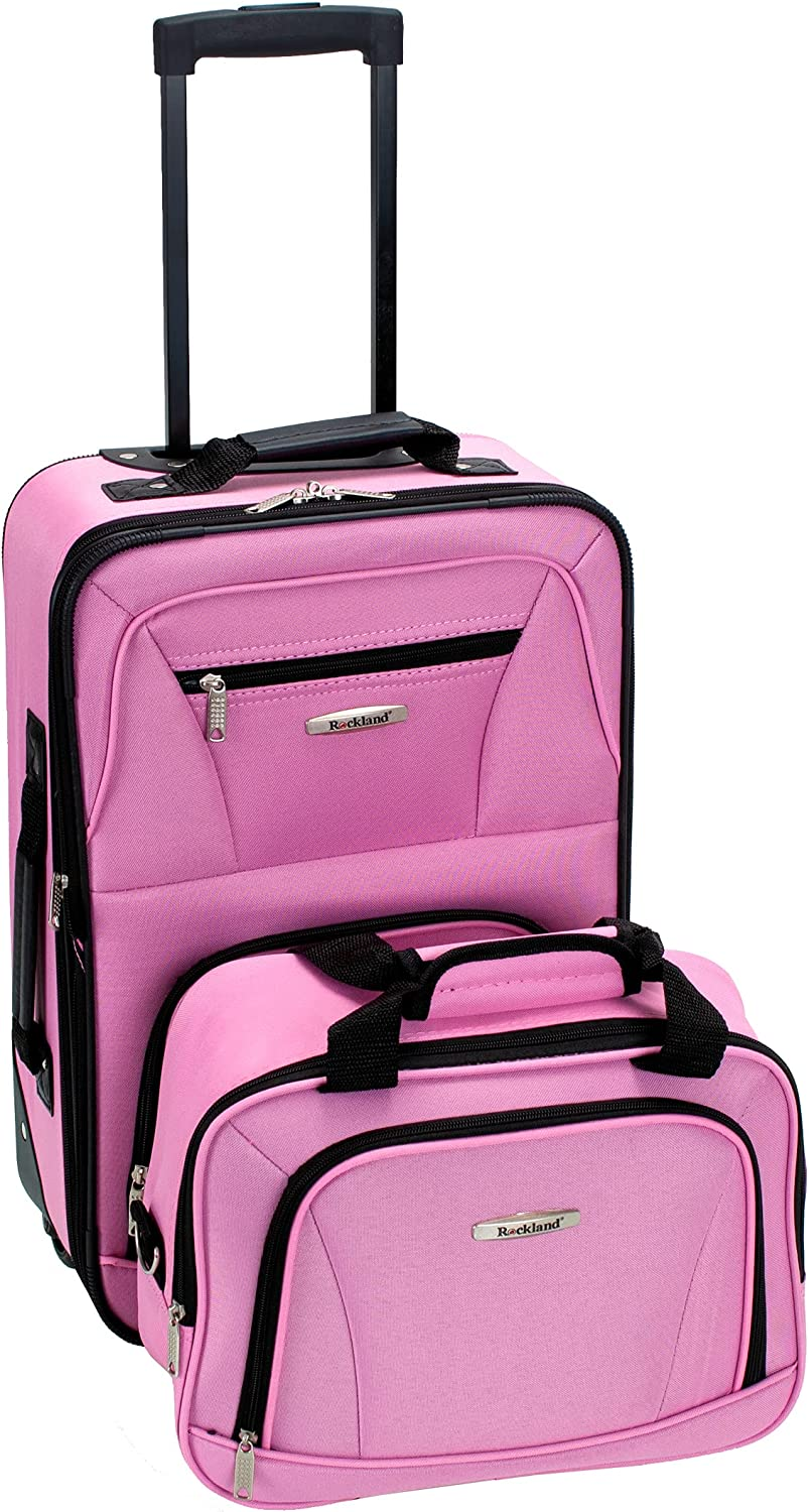 Rockland Ranking TOP8 Fashion Softside Upright Luggage Set National products 14 Pink 2-Piece