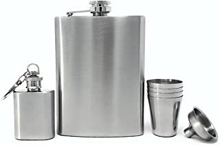 Premium 8 Ounce Leakproof Stainless Steel Hip Flask with 4 Drinking Shot Glass Set for Liquor Including Bonus Funnel and Keychain Pocket Flask