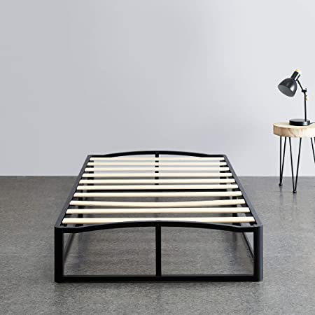 "Amazon Basics 10"" Modern Metal Platform Bed with Wood Slat Support - Mattress Foundation - No Box Spring Needed, Twin"
