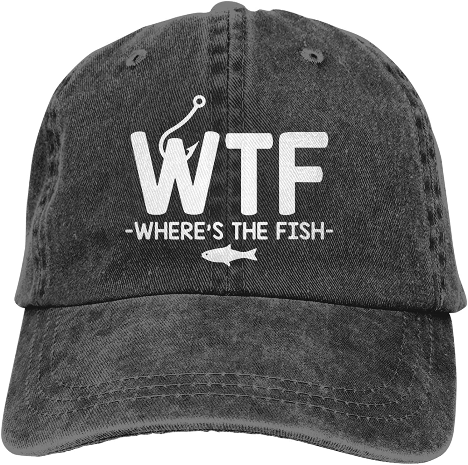 WTF Where's The Fish Baseball Cap Trucker Dad Hat Breathable Adjustable Fitted Cap for Men Women Black