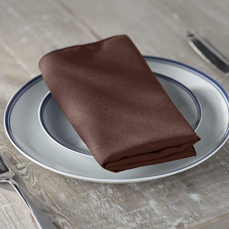 LA Linen 10 Pack Polyester Poplin Napkins 18 By 18 Inch Brown