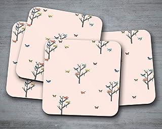 Posavasos rosa con diseño de pájaros y árboles, posavasos individuales o juego de 4