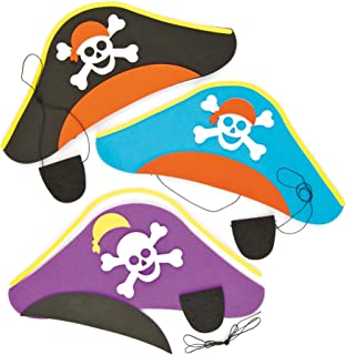 Baker Ross ET142 Pirate Hat & Eye Patch Kits - Pack of 3, Perfect for Kids Costumes, Ideal for Birthday Parties, Home, Sch...