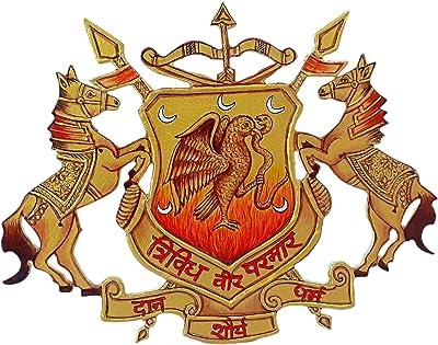 Surya Handicrafts Rajput Parmar Logo Monogram Hand Painted on Wooden Wall Hanging Home Décor