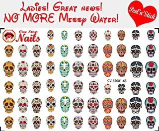 Sugar Skull, Dia de los Muertos clear vinyl Peel and Stick nail art decals/stickers (NOT Waterslide). Set of 63 by One Stop Nails.