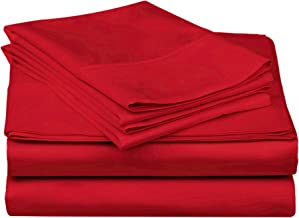 Superior 100% Premium Combed Cotton, 300 Thread Count 5-Piece Bed Sheet Set, Single Ply Cotton, Deep Pocket Fitted Sheets, Soft and Luxurious Bedding Sets - Split King, Red