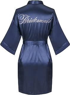 Satin Wedding Robes with Clear Rhinestones-Bride&Bridesmaid Edition Short Kimono
