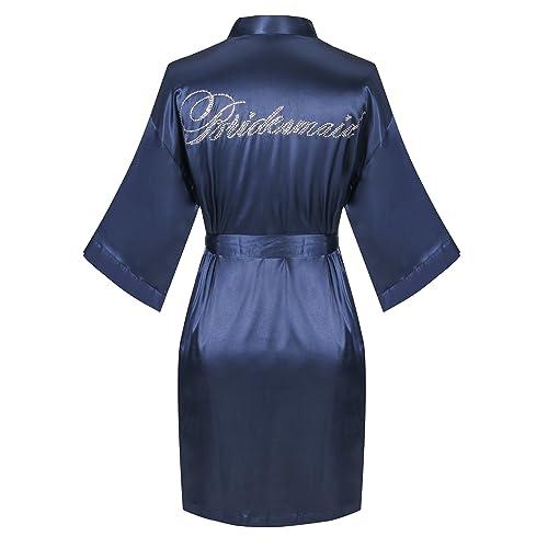 db2ae552eb Joy Bridalc Satin Wedding Robes with Clear Rhinestones-Bride Bridesmaid  Edition Short Kimono