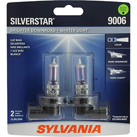 SYLVANIA - 9006ST.BP2 - 9006 SilverStar - High Performance Halogen Headlight Bulb, High Beam, Low Beam and Fog Replacement Bulb, Brighter Downroad with Whiter Light (Contains 2 Bulbs)