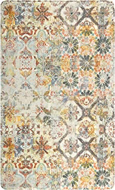 Lahome Floral Medallion Collection Area Rug - 3' X 5' Non-Slip Distressed Bohemian Vintage Traditional Area Rug Accent Throw