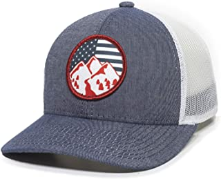 Americana Mountains Scout Patch Trucker Hat - Adjustable Mesh Back Baseball Cap for Men & Women