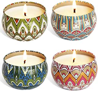 YIIA Fruity Scented Candles Gift Set, Natural Soy Wax Travel Tin Candle Stress Relief Aromatherapy with Sweet Odor 4-Pack(...