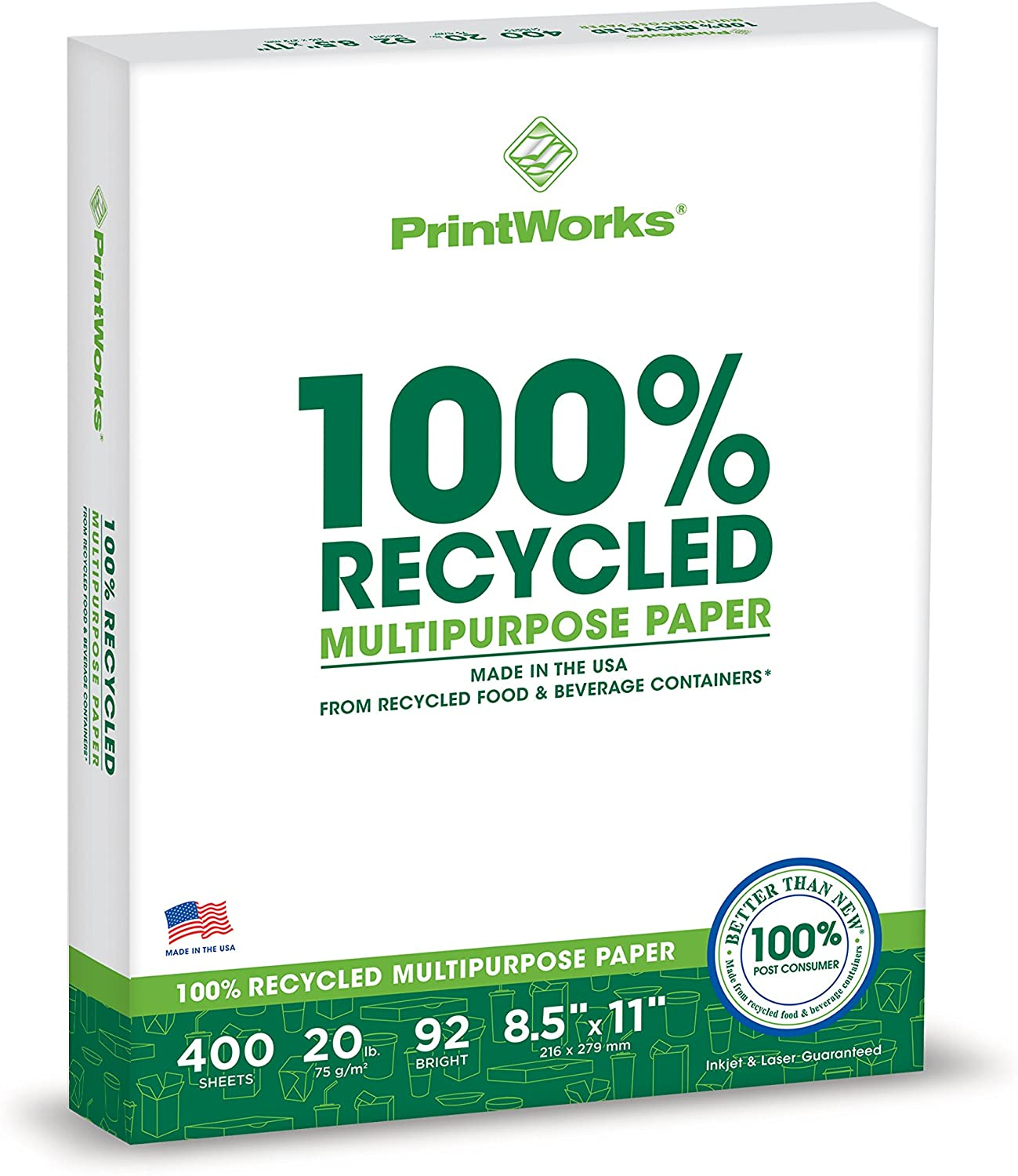 Printworks 100 Percent Recycled Multipurpose Paper, 20 Pound, 92 Bright, 8.5 x 11 Inches, 400 sheets (00018), White : Printer Paper : Office Products