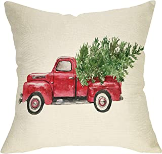 Softxpp Christmas Farmhouse Decorative Throw Pillow Cover Vintage Red Truck Winter Holiday Decoration Merry Xmas Tree Farm Sign Home Decor Cushion Case for Sofa Couch 18