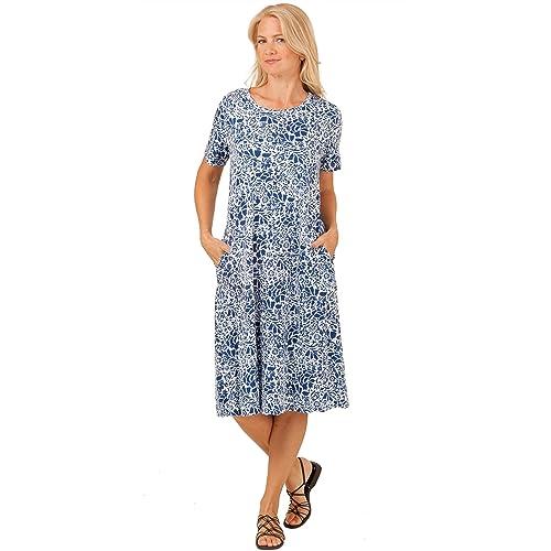 570dfa4c2c669 La Cera Cotton Knit A-Line Dress - Blue Floral