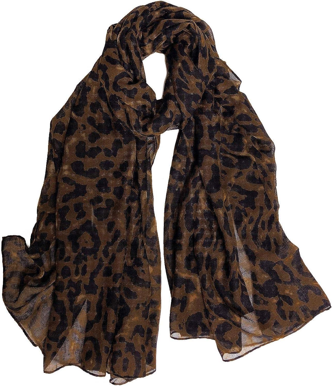 GERINLY Cozy Cheetah Scarfs For Women Stylish Cotton Leopard Blanket Wrap Shawls