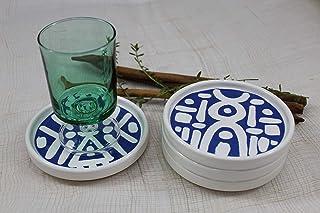 Set di 4 sottobicchieri in ceramica handmade dipinti a mano - collezione grafica design astratto