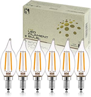 Keymit Candelabra LED Bulbs C32 2W - Dimmable Light Bulbs for Chandelier Lighting - 2700K Warm White 6Pack
