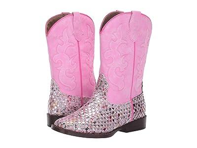Roper Kids Western Braid (Toddler/Little Kid) (Pink Braided Multicolor Glitter Vamp) Cowboy Boots