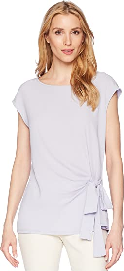 Short Sleeve Soft Texture Tie Front Blouse