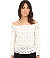 Nicole Miller - Off the Shoulder Eyelet Peasant Top