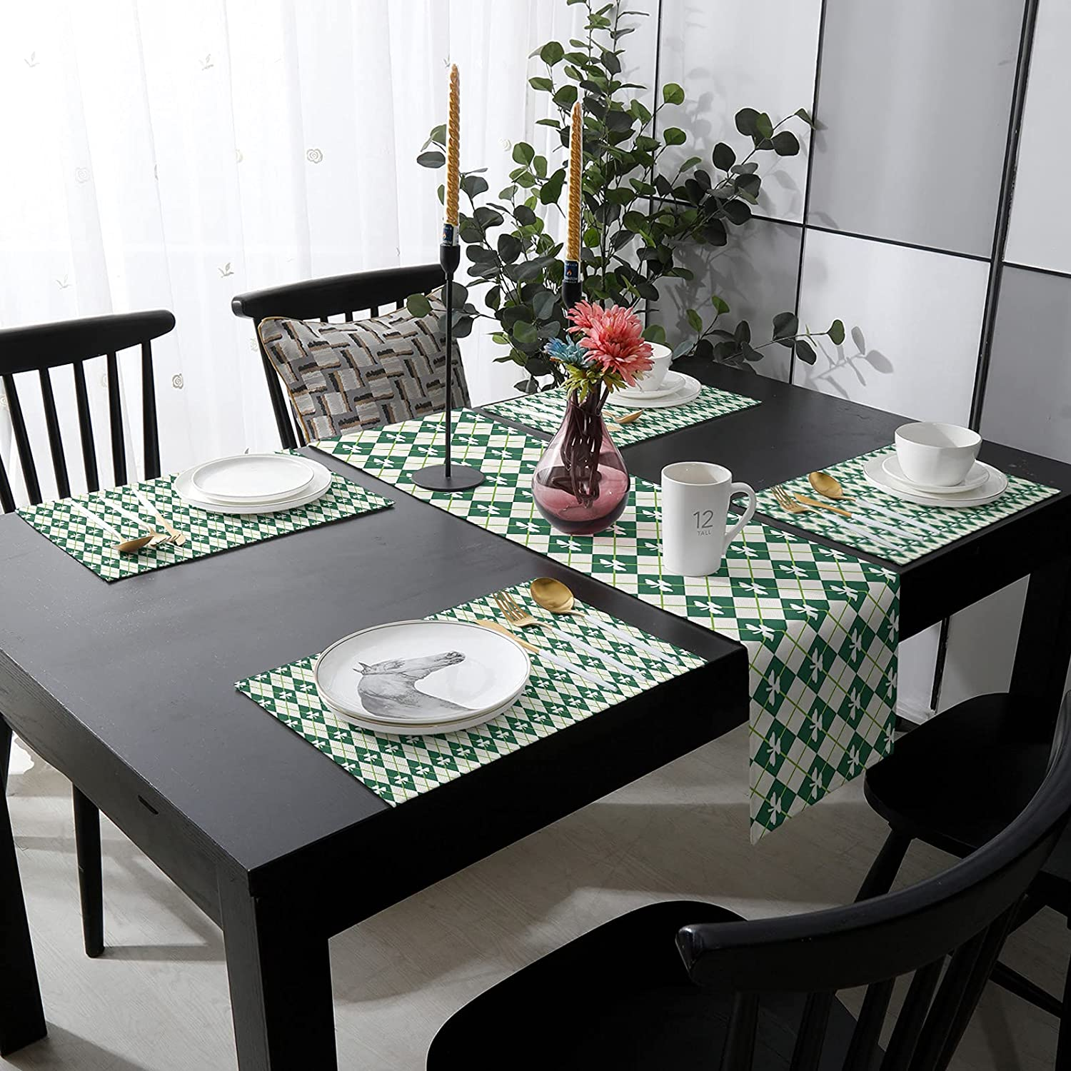Womenfocus Outdoor Table Runner Manufacturer direct delivery and Max 64% OFF Kitchen Heat-Pr Placemats 6