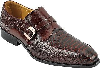 Xposed Cuir véritable pour Hommes Snakeskin Imprimer Tonal Marron Robe de soirée Monk Bracelet Intelligent Chaussures
