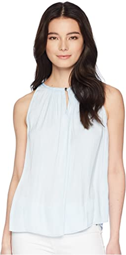 Vince Camuto Specialty Size Petite Sleeveless Rumple Keyhole Halter Blouse