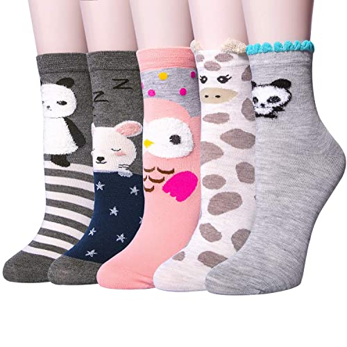 3-5 Pairs Womens Warm Thick Knited Casual Cotton Crew Socks, Cute Funny  Animal fe1d770791