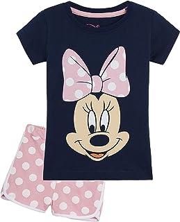 Disney Minnie Mouse Pijama Niña Verano, Ropa de Niña Vacaciones Algodon 100%, Conjuntos de 2 Piezas Top y Pantalon Corto N...