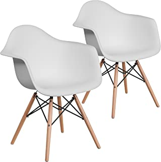 Flash Furniture 2 Pk. Alonza Series White Plastic Chair with Wooden Legs
