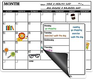 Magnetic Calendar for Refrigerator - Fridge Calendar, Magnetic Dry Erase Calendar with Grocery List Magnet Pad, Monthly Ca...