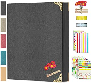 DIY Scrapbook Photo Album 8.5 x 11 Inch, Adkwse Hardcover 80 Pages Black Scrapbook Paper with Scrapbooking Kits Suitable f...