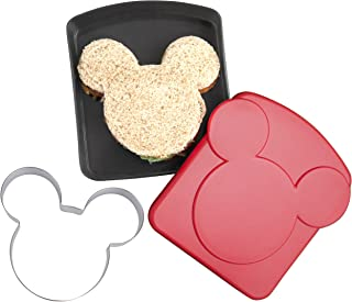 Disney Mickey Mouse Sandwich Crust and Cookie Cutter with Plastic Storage Container - Great for Lunches, Snacks and Baking