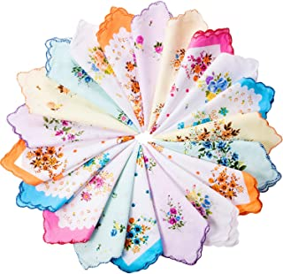20 Pieces Women Vintage Floral Print Cotton Colorful Ladies handkerchiefs