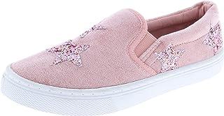 Capelli New York Girls Velvet Slip On Sneaker with Glitter Stars Applique